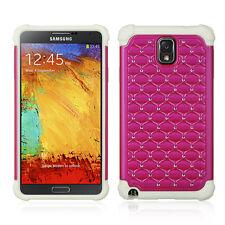 Pink / White Hybrid Studded Diamond Case Cover For Samsung N900V Galax