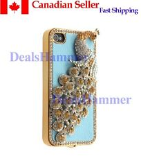 3D Diamante Bling Rhinestone Peacock Hard Case 4 iPhone 4 TH 4G 4S Blue CANADA