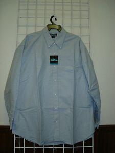 Mens Size 5XLT Dress/Casual Shirt, Light Blue, 100% Cotton, Oxford Style, 5XLT