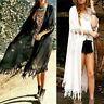 Women Summer Boho Beach Cover Up Lace Floral Cardigan Kimono Chiffon Coat Blouse