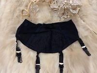 VINTAGE Lycra black GARTER  Waist belt size S