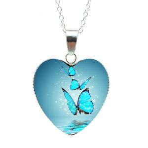 Damen Halskette Anhänger Hell Blau Schmetterling Herz Cabochon Geschenk Party