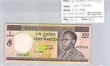 BILLET CONGO (REPUBLIQUE DEMOCRATIQUE) - 100 MAKUTA - 2.1.67- TRES BELLE QUALITE