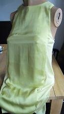 H&M GLAM YELLOW SHEER MIX SMOCK STYLE SLEEVELESS DRESS SIZE 4/6 MUST L@@K!!