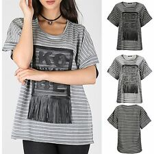 Unbranded Women's Striped Short Sleeve Sleeve Polyester Tops & Shirts