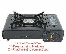 Deluxe portable BUTANE + LPG gas Burner camping picnic picnik Stove with case