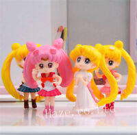 4pcs/set Anime Sailor Moon Tsukino PVC Figures Model Statue Toy