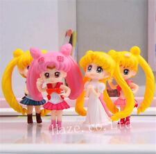 4pcs/set Anime Sailor Moon Tsukino Usagi PVC Figures Model Statue Toy