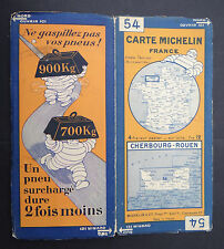 Carte MICHELIN n°54 old map CHERBOURG ROUEN LE HAVRE 1928 Bibendum pneu tyre