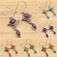 925 Silver PURPLE COPPER TURQUOISE & Other Gemstone FASHION Variation Earrings