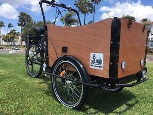Cargo Box Bike Electric Bicycle Family Kids Trailer e bike park beach lithium