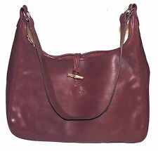 Vintage LONGCHAMP Roseau Burgundy Red Real Leather Medium Shoulder Bag FRANCE