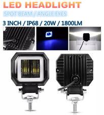 "3"" 6500K 20W Car Motorcycle Boat Cree LED Headlight Angel Eyes Light Bar IP68"
