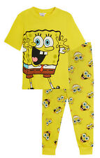 Kids Spongebob Squarepants Snuggle Pyjamas Boys Girls Full Length Pjs Set Unisex