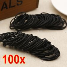 100 Pcs/Lot  Black Elastic Rubber Hair Band Ponytail Holders for Lady