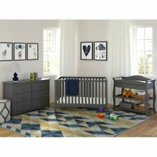 Hillcrest Convertible Crib 3-Piece Nursery Furniture Set - Color Gray