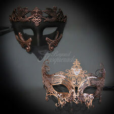 Couples Masquerade Mask, His & Hers Set, Rose Gold Masquerade Mask M31000, M7142