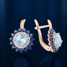 Russian solid rose gold 585 /14k awesome round cut blue topaz, CZ earrings NWT