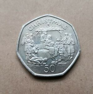 50p Fifty Pence Coin Christmas Nativity 1991 Collectable Isle of Man (350)