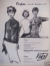 PUBLICITÉ 1958 SWEATERS VITOS CRYLOR C'EST LE DERNIER CRI - ADVERTISING