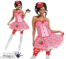 Ladies Pink Cupcake Fancy Dress Costume Corset Tutu Skirt & Hat Katy Perry Size Extra Large XL 16 - 18