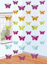 Butterfly | Pink | Green | Purple | Blue Party Hanging String Decorations 1-30pk