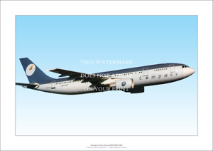 """Compass Airlines Airbus A300-600R A3 Print – 1991 – Poster 42 x 29 cm 16"""" x 12"""""""