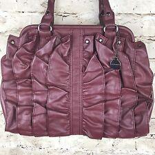 Big Buddha Handbag Ruffled Doctor Satchel Zip Closure Bordeaux Red Medium