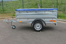 """BRAND NEW Car trailer double broadside + flat cover 750kg 6'8"""" x 3'8"""" camping"""