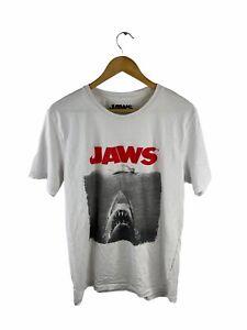 Jaws Men's T Shirt Size L White Short Sleeve Crew Neck Logo Shark Casual