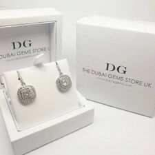 White gold finish cushioncut created diamond cluster droplet earrings giftboxed