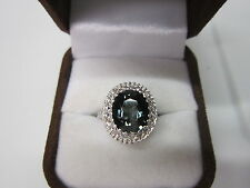 STUNNING ESTATE 14 KT GOLD 4.89 CTW VIVID BLUE TOURMALINE & DIAMOND RING !!!!