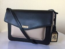 LAUREN RALPH RLL Bramley Black Beige Rosewood Leather Messenger Bag NWT $198