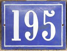 Large old French house number 195 door gate plate plaque enamel steel metal sign