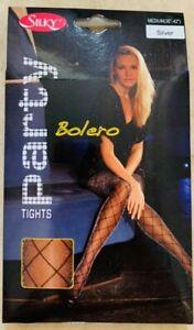 "Silky Bolero Silver Sparkly Glitter Diamond Pattern Party Tights Med 36-42"" Hip"