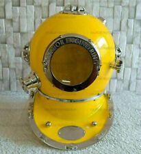 Vintage Yellow Diving Helmet U.S Navy Anchor Engineering Divers Helmet Replica
