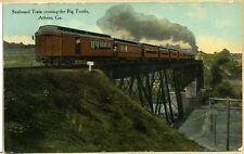 GA~GEORGIA~ATHENS~SEABOARD TRAIN CROSSING THE BIG TRESTLE~EARLY~PC7383
