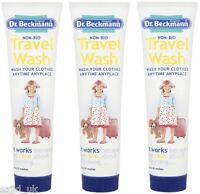 3x Dr Beckmann Non-Bio Travel Holiday Clothes Wash 100ml - 20 Washes - FREE P&P
