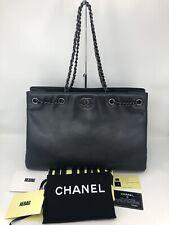 Auth CHANEL Iridescent Black Caviar Leather Ruthenium HW Chain Tote Shoulder Bag