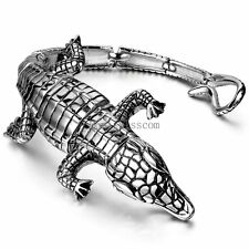 Heavy Chunky Gothic Stainless Steel Silver Lizard Bangle Bracelet Mens Wristband