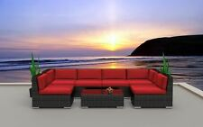 Oahu Wicker Rattan Outdoor Patio Furniture Set C Red