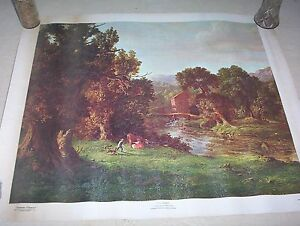 Vintage George Inness 1967 Reproduction Canvas Our Old Mill Print Picture 23x19