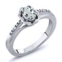 0.45 Ct Oval Sky Blue Aquamarine Gemstone Birthstone 925 Sterling Silver Ring