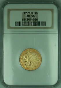 1909-O Indian Half Eagle $5 Gold Coin NGC AU-58 (KD)