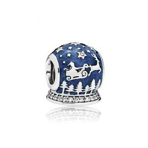 Christmas snow globe Charm Bead bracelet blue silver gift sleigh santa
