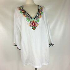 NWT Soft Surroundings White Linen Tunic Embroidered Floral Beaded Plus Size 2X