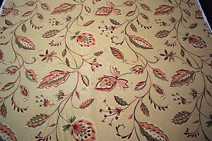 """Flax Linen Fabric Beige Floral Pink 55""""W Upholstery By The Yd Natural Fiber"""