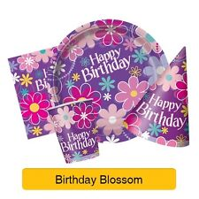 BIRTHDAY BLOSSOM Birthday Party Items (Tableware, Balloons and Decorations)