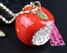 Betsey Johnson Necklace APPLE RED Apple For Teacher Gold Crystals