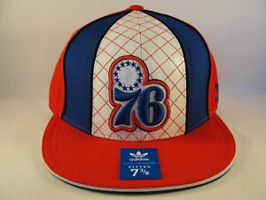 Philadelphia 76ers NBA Adidas Fitted Hat Cap Size 7 3/8 Red Blue White